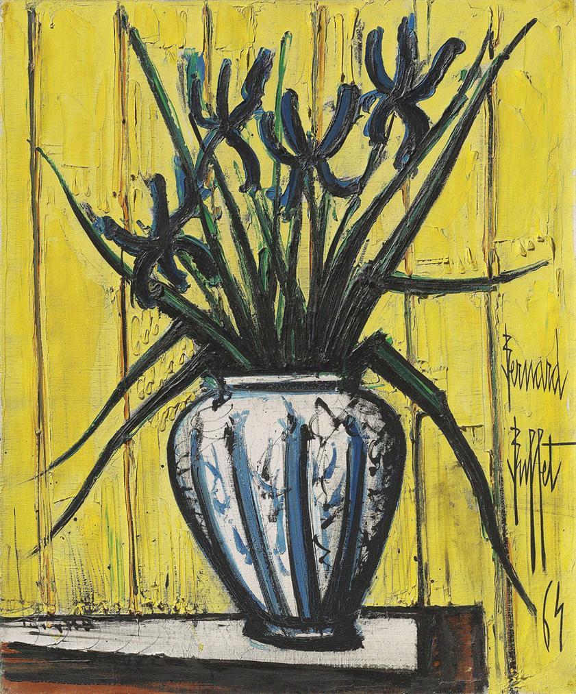 Bernard Buffet-Iris Bleus Dans Un Vase-1964