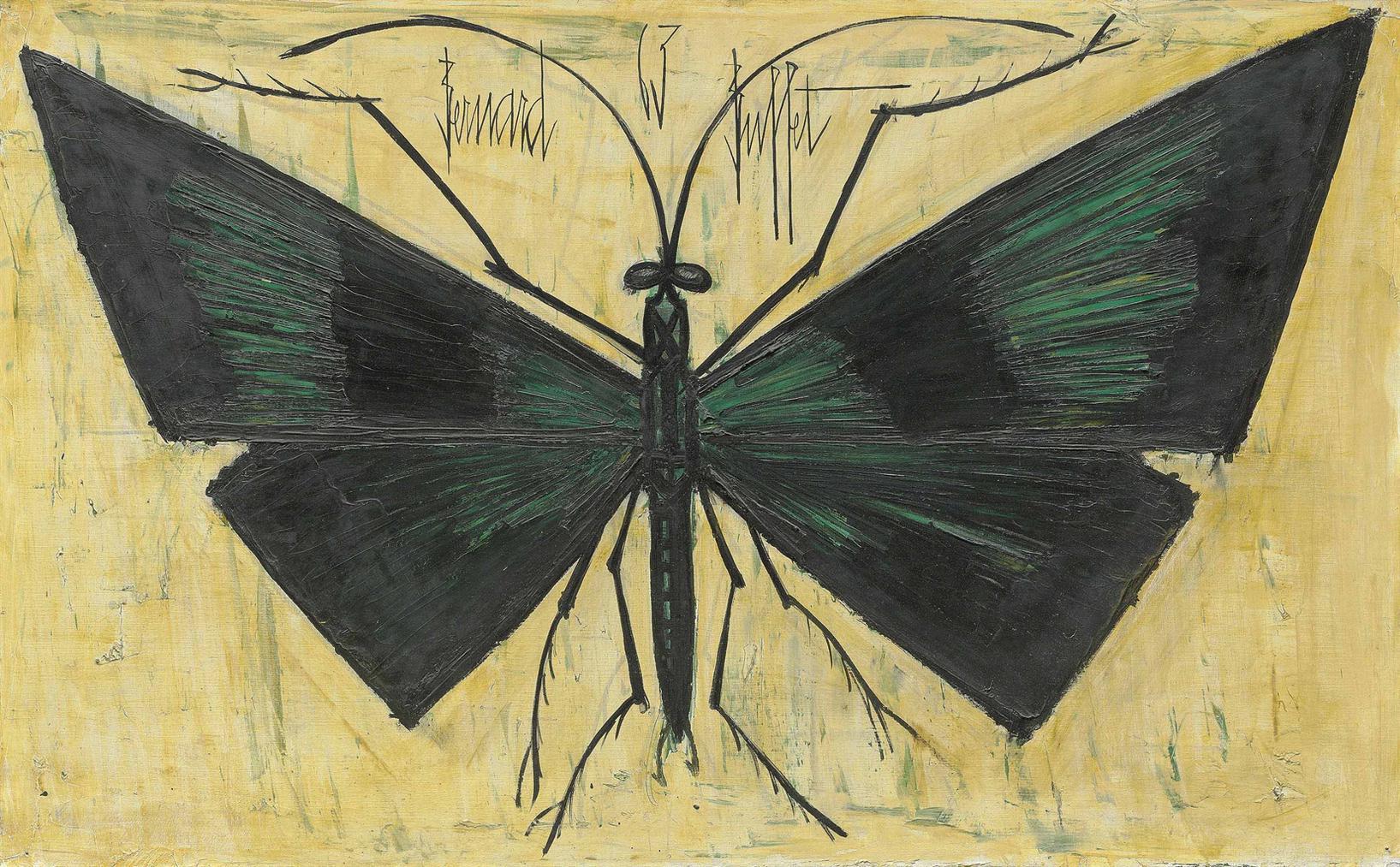 Bernard Buffet-Papillon Vert-1963