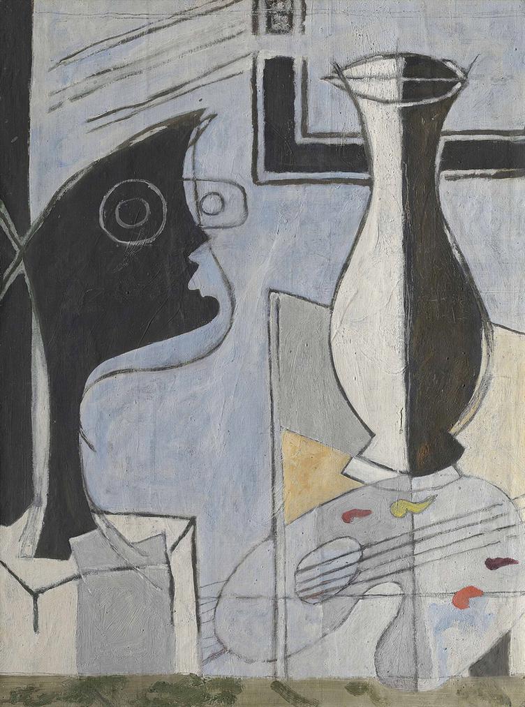 Georges Braque-Vase, Palette Et Tete-1949