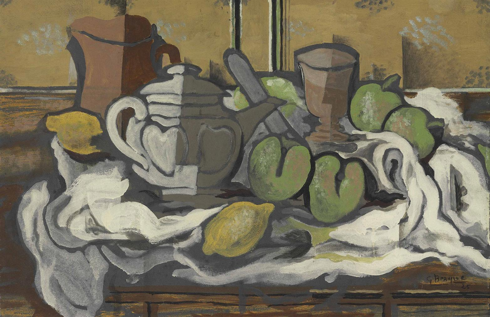 Georges Braque-Theiere, Cruche, Verre Et Fruits-1925