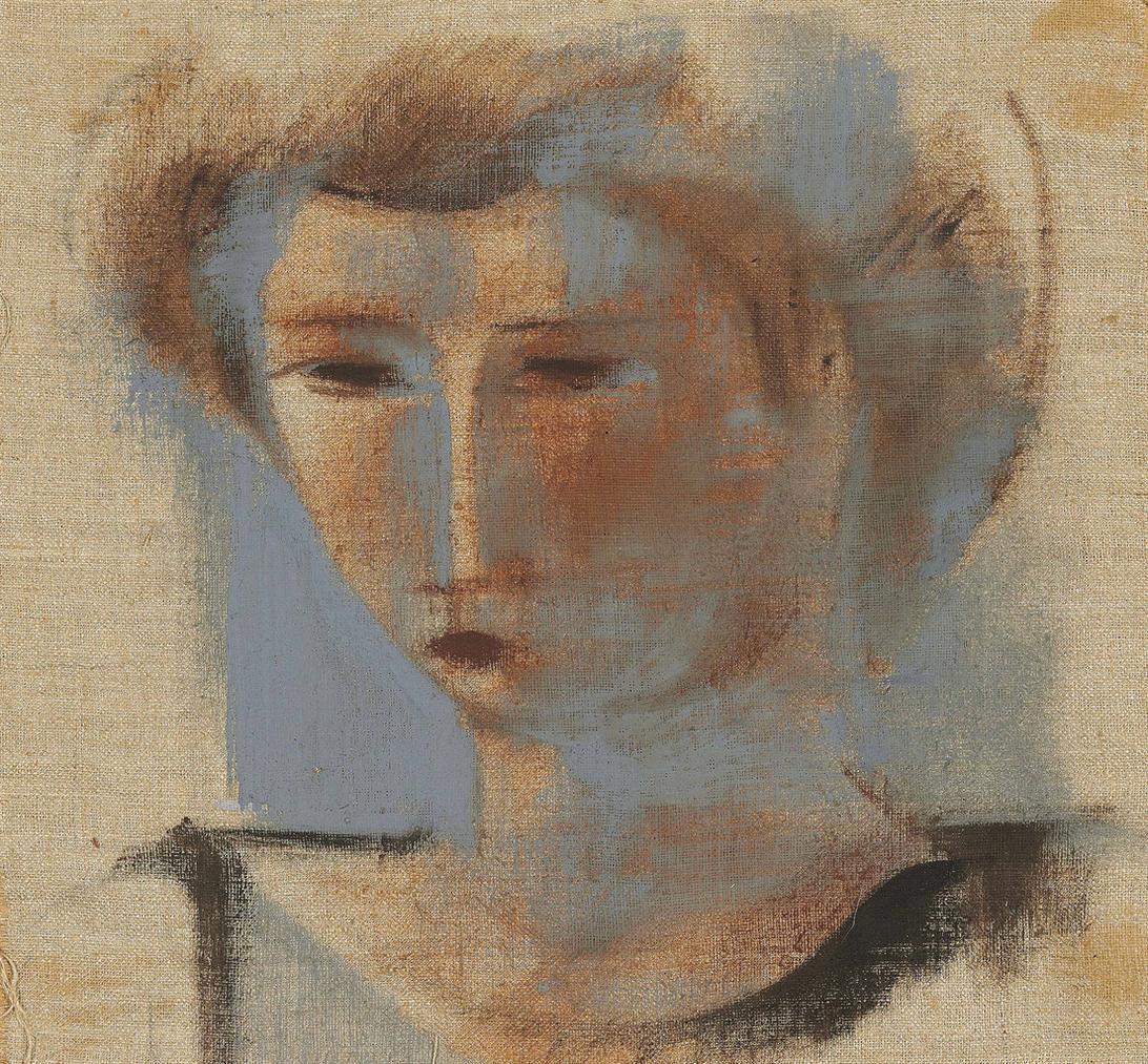 Oskar Schlemmer-Madchenkopf Auf Rohleinen-1930