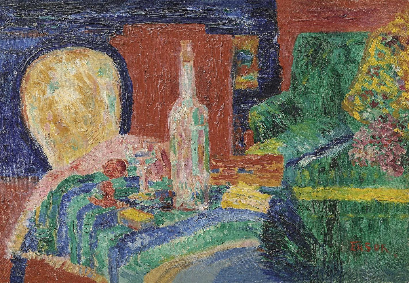 James Ensor-Le Divan Vert (Interieur)-1925