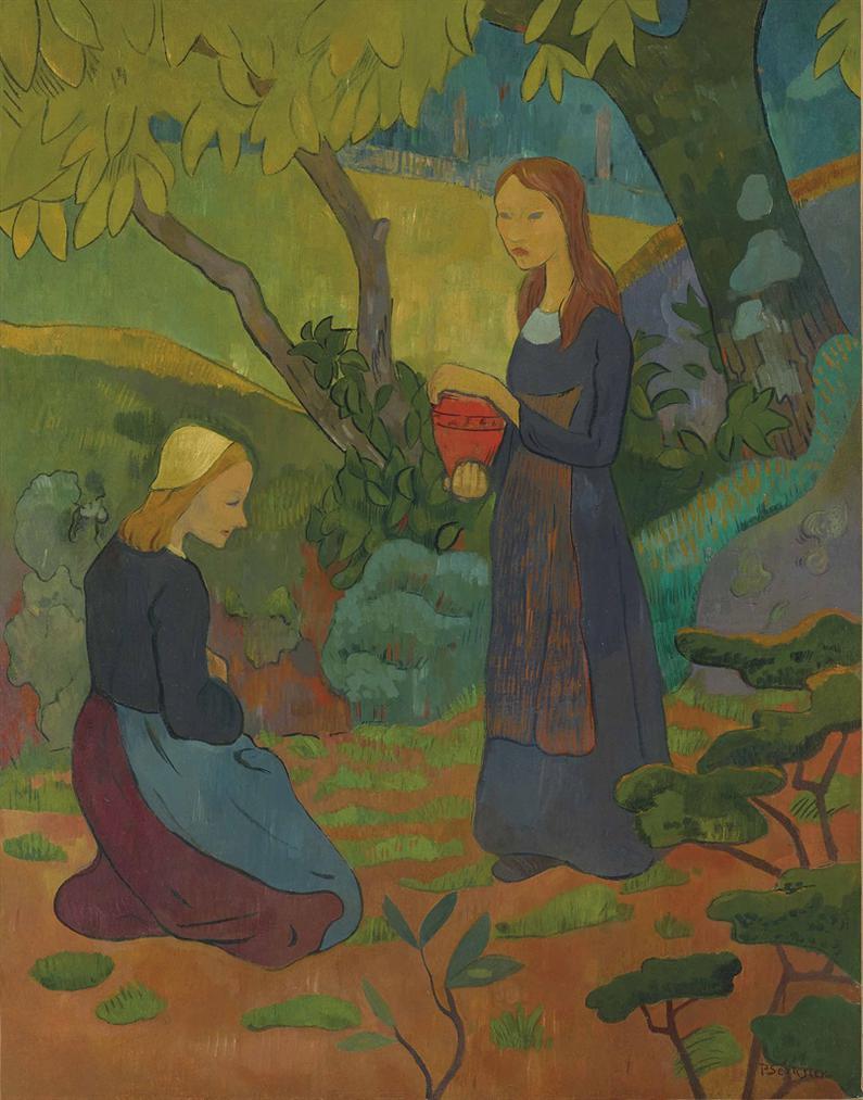 Paul Serusier-Jeune Bretonne Au Pot Vermillon Et Fillette Agenouillee-1892