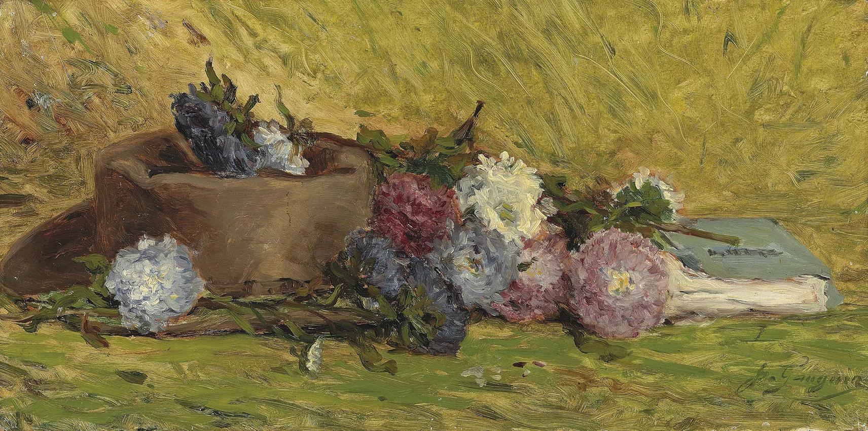 Paul Gauguin-Reine-Marguerites, Chapeau Et Livre-1876