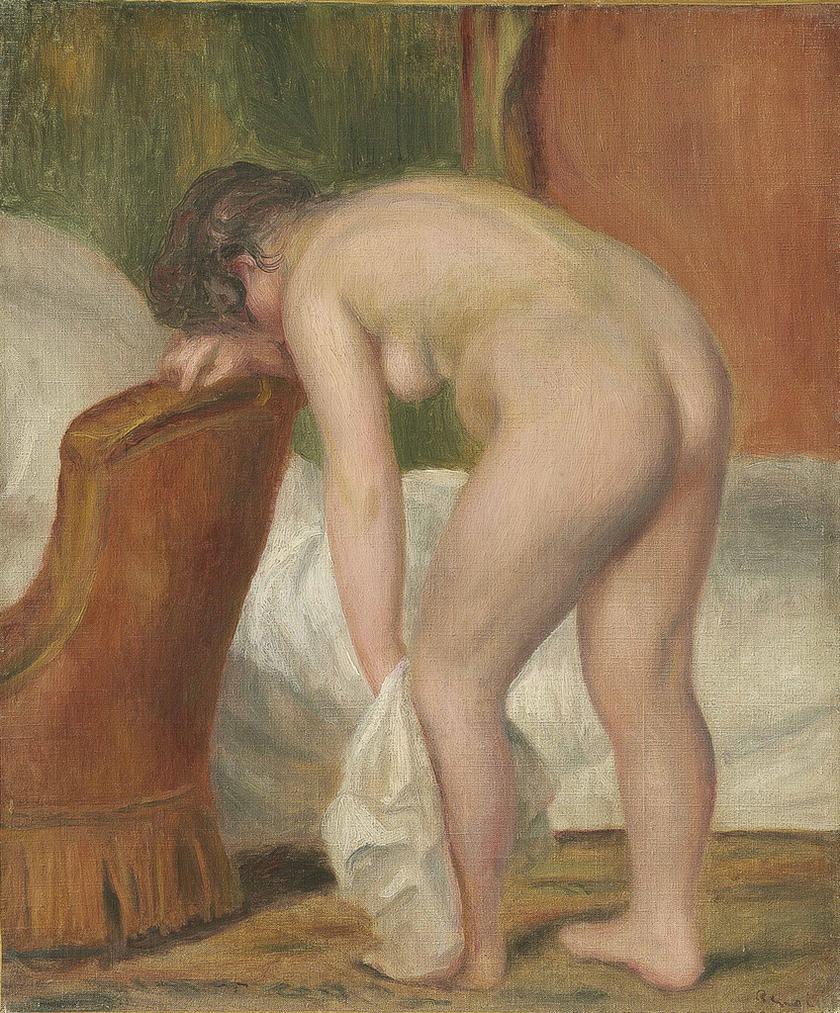 Pierre-Auguste Renoir-Femme Nue Debout, Sessuyant La Jambe-1909