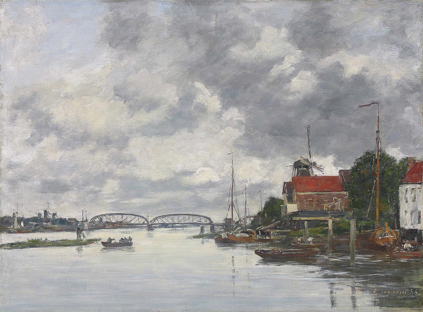 Eugene Louis Boudin-Dordrecht. Pont Sur La Meuse-1884