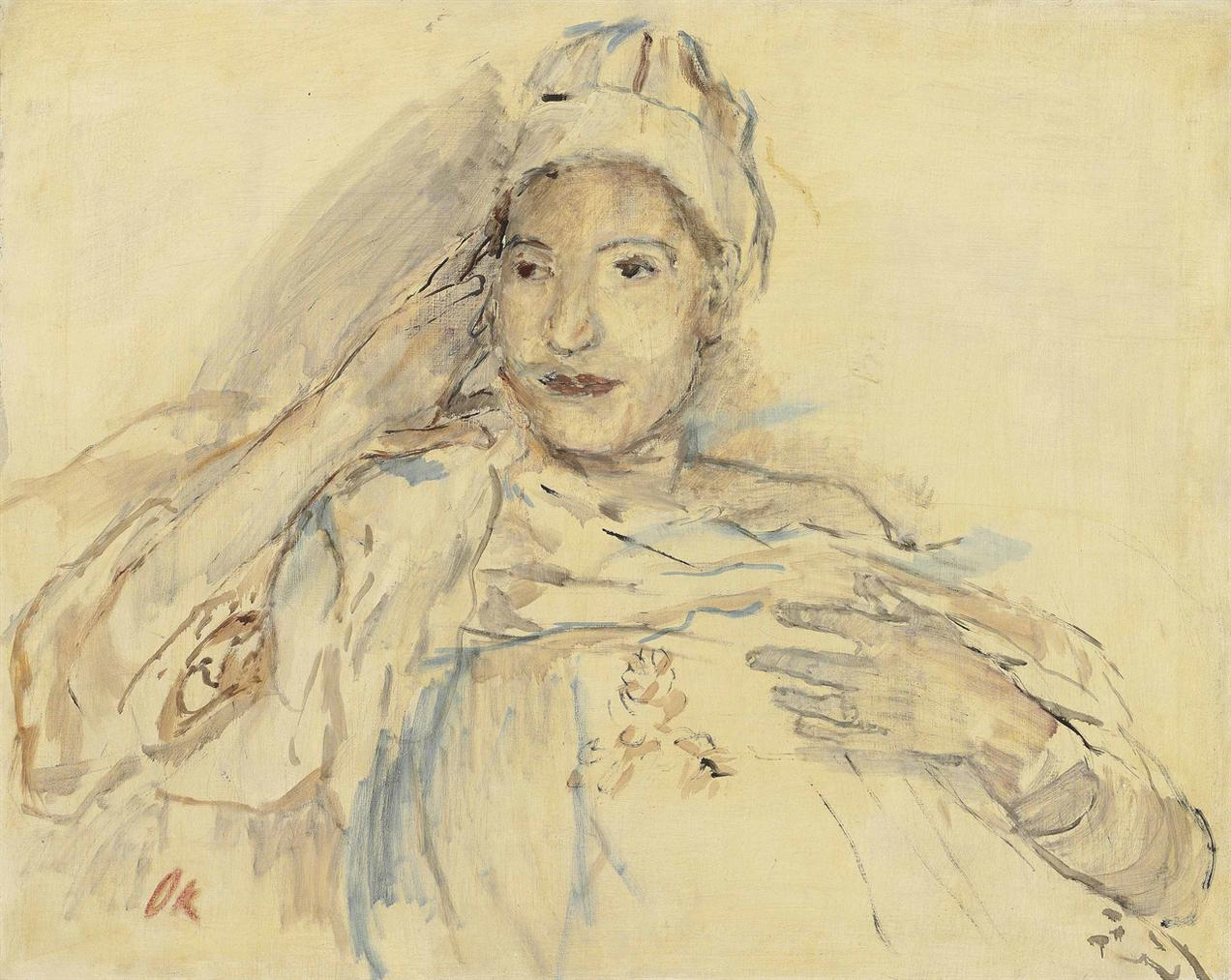 Oskar Kokoschka-Elisabeth Gesinus-Visser Ii (Mit Hut)-1933