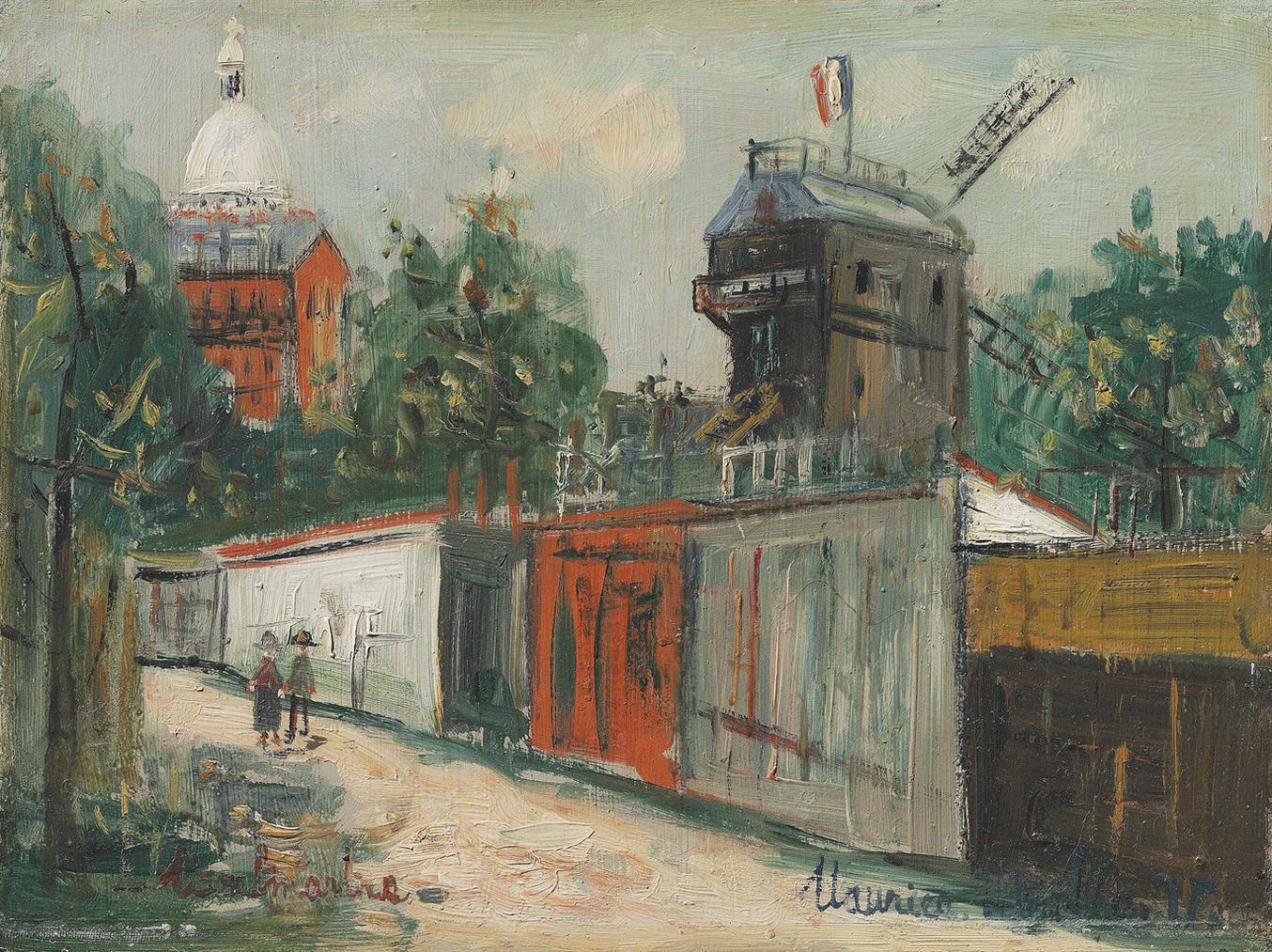 Maurice Utrillo-Le Moulin De La Galette Et Le Sacre-Coeur-