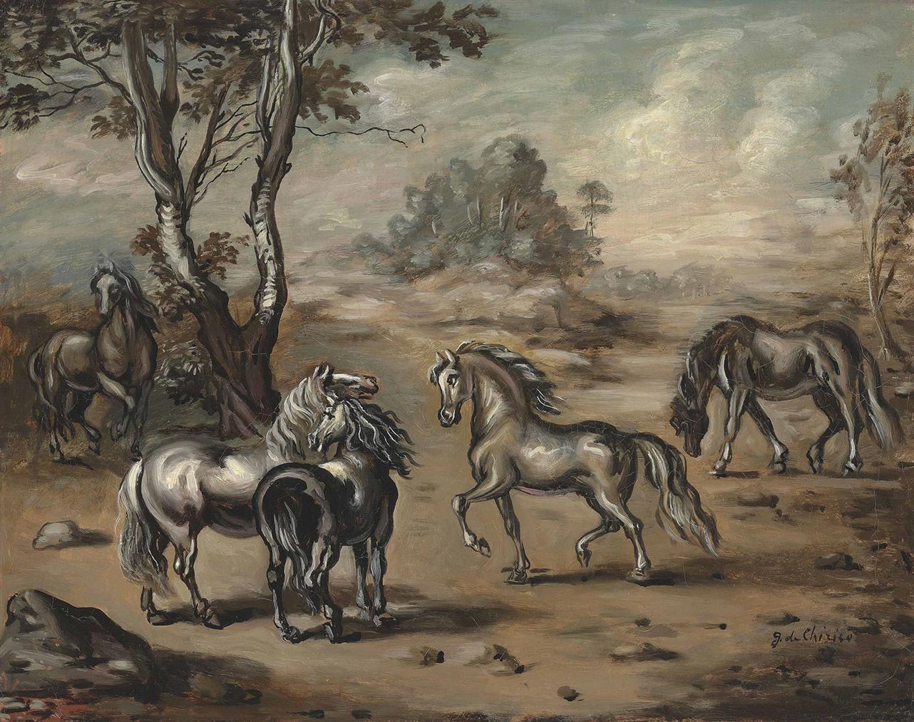 Giorgio de Chirico-Cavalli In Un Paese-1942