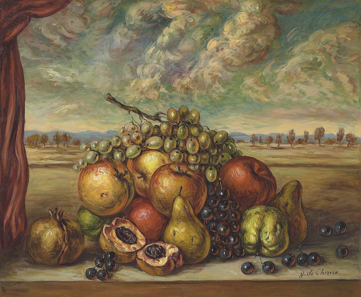 Giorgio de Chirico-Frutta In Un Paese-1950