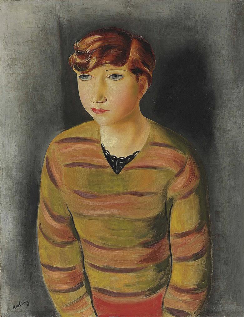 Moise Kisling-Jeune Femme Au Pull Raye-1935