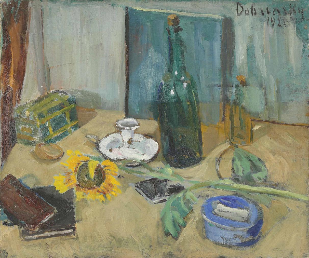 Isaac Dobrinsky - Nature Morte Avec Bouteille Et Tournesol-1920
