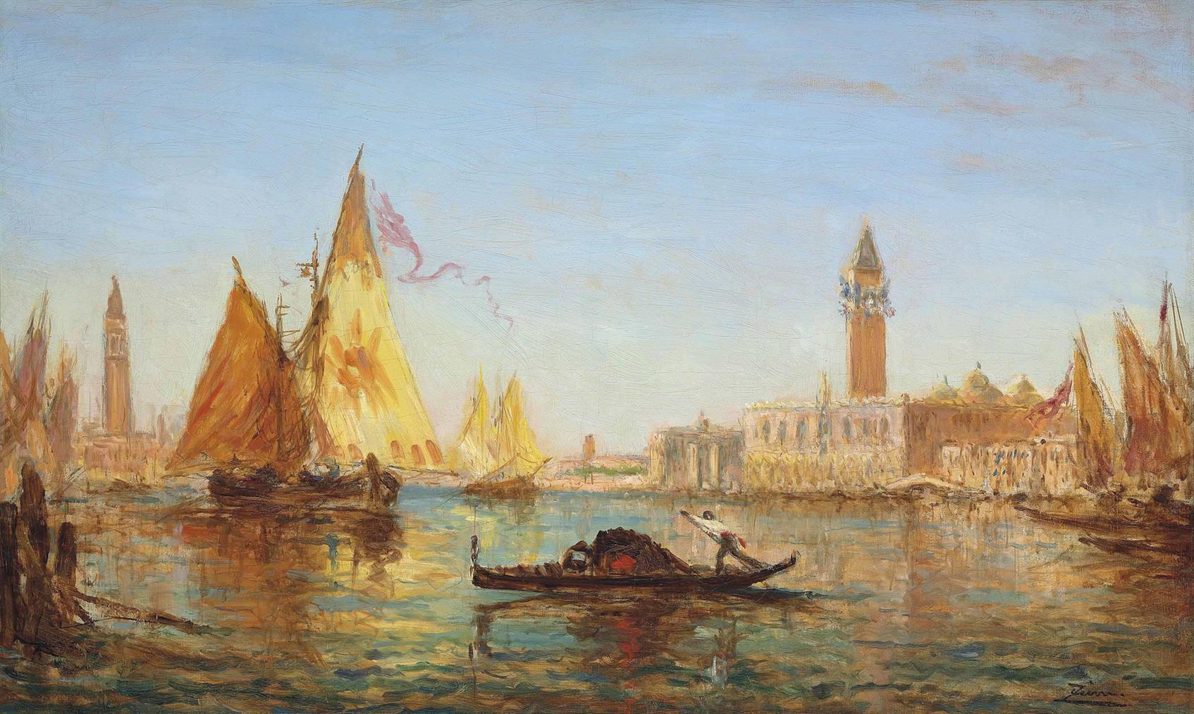 Felix Ziem-Venise, Gondole Et Voiliers Sur Le Grand Canal-