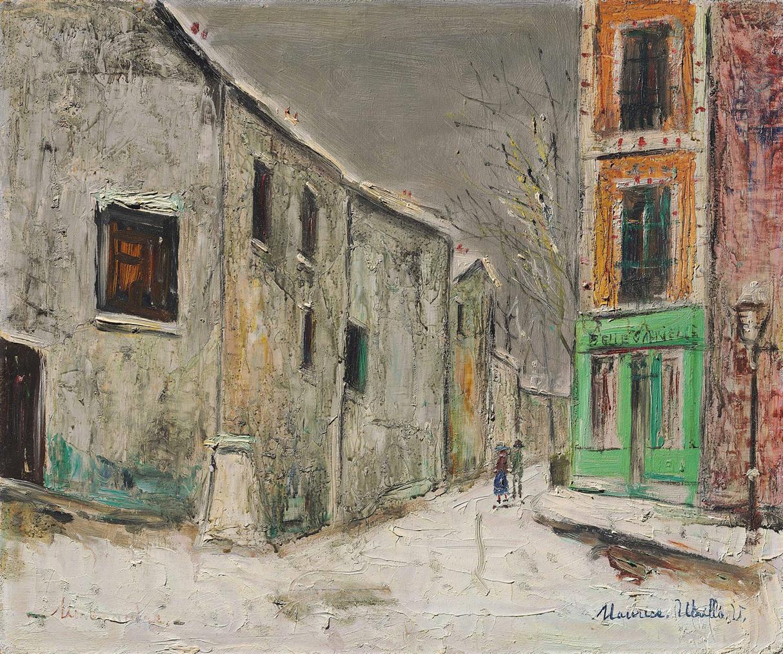 Maurice Utrillo-Belle Gabrielle Et Rue Saint-Vincent Sous La Neige, Montmartre-1946