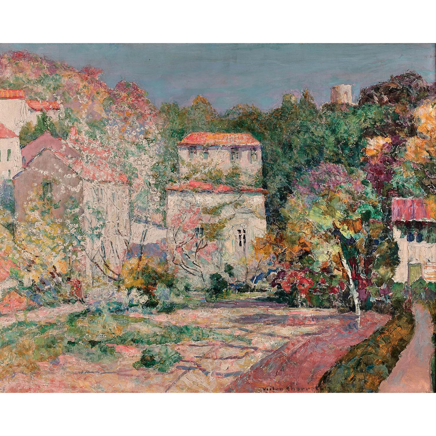 Victor Charreton-Verger En Fleurs Dans Un Village-