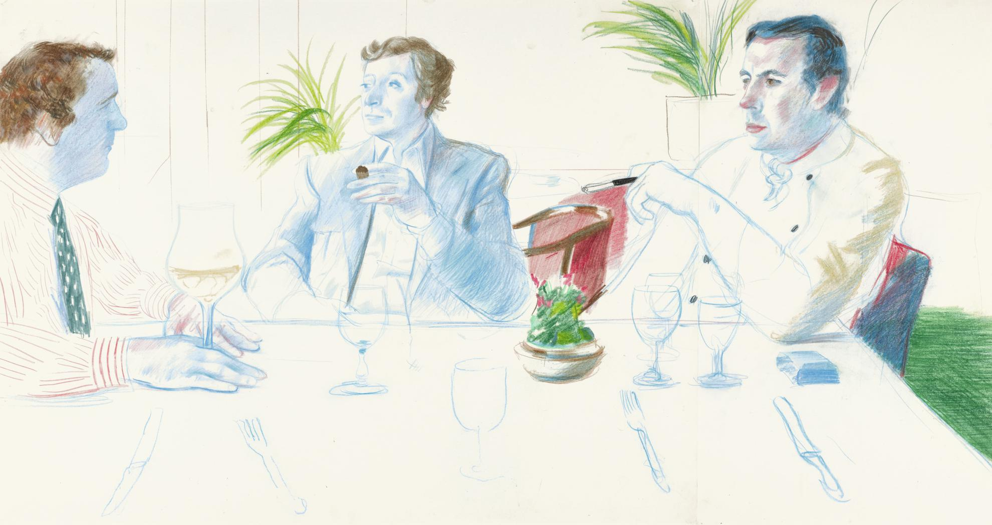 David Hockney-Peter Langan, Michael Caine And Richard Shepherd, Langans Brasserie-1977