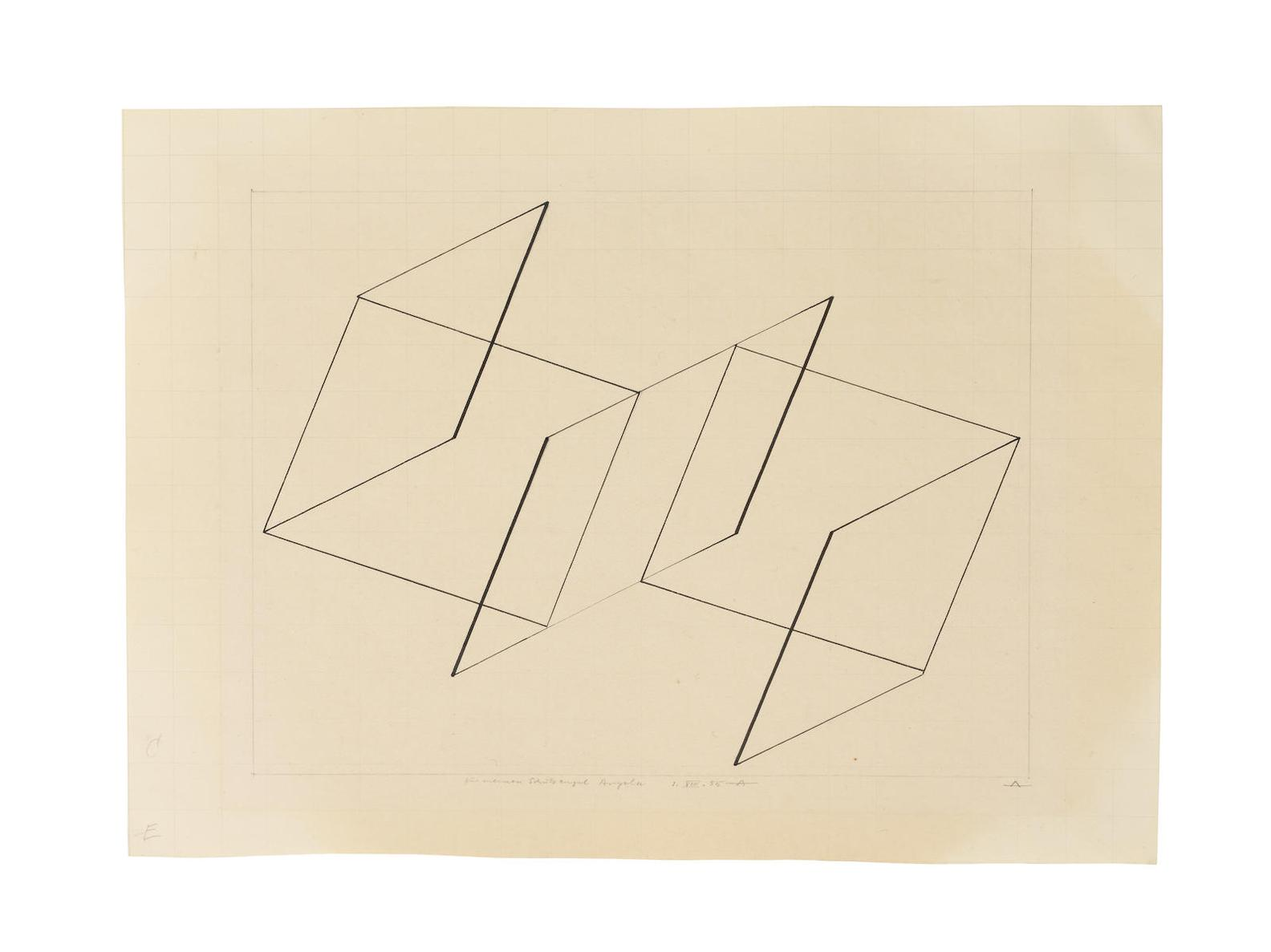 Josef Albers-Untitled (Drawing Of A Structural Constellation)-1955