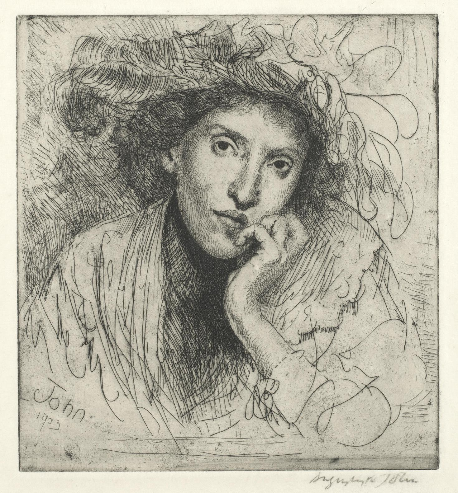 Augustus Edwin John-A Jewess Resting Her Head On Her Hand-1903