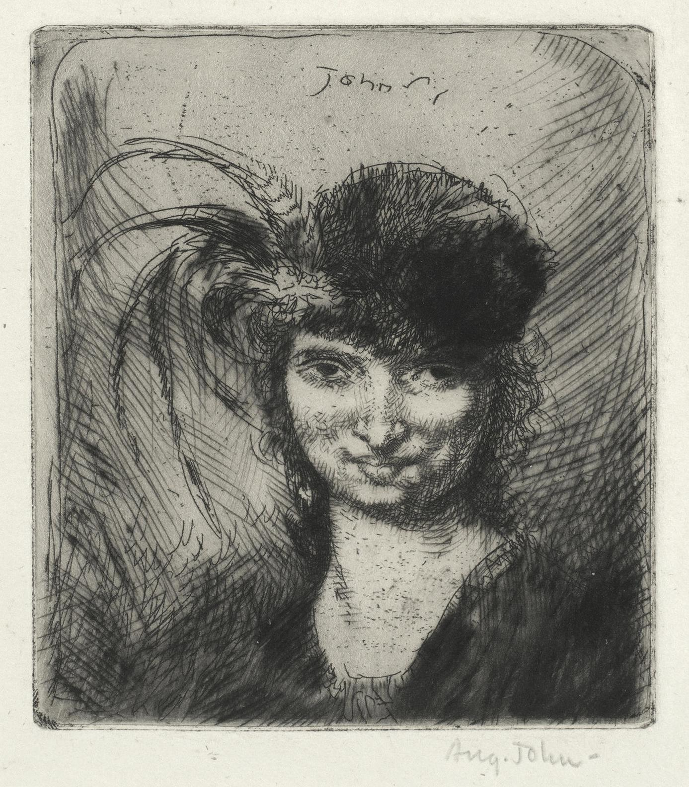 Augustus Edwin John-Girl Smiling, In Fur Hat And Feathers (Dodgson 63 III/III)-1906