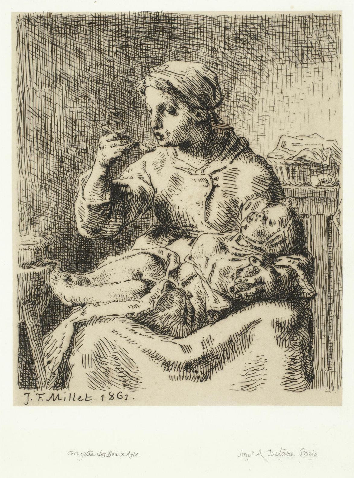 Jean-Francois Millet-La Bouillie (Delteil 17)-1861
