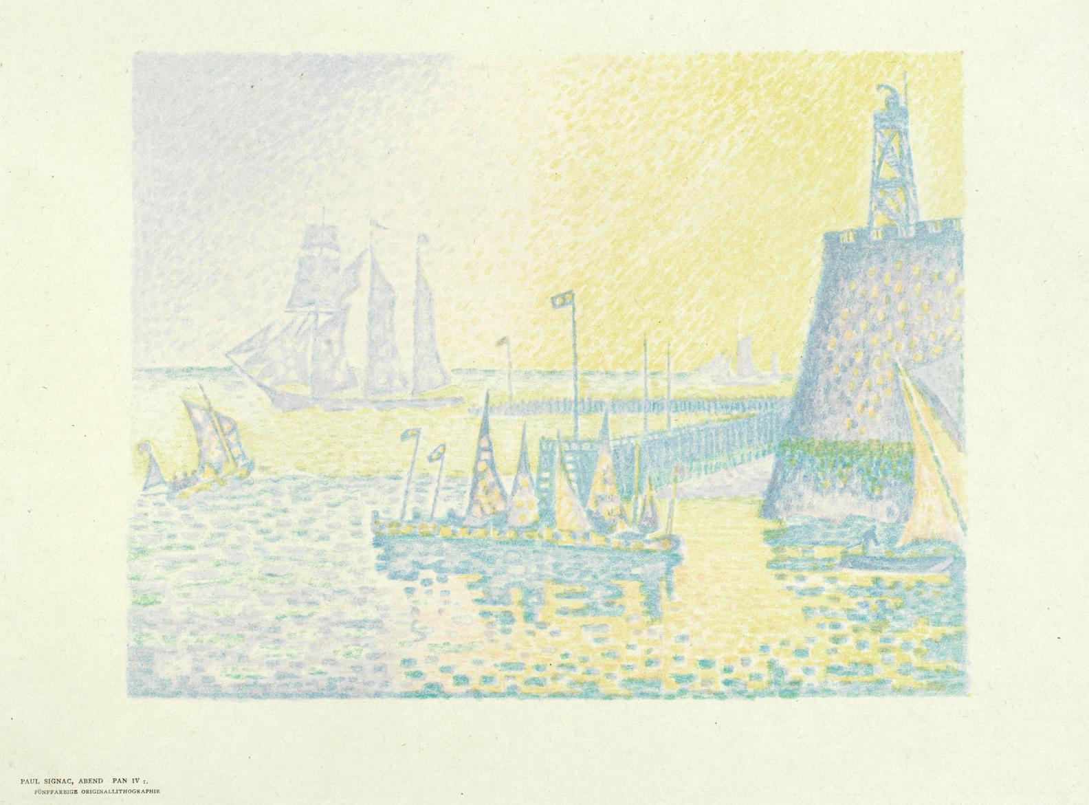 Paul Signac-Le Soir - La Jetee De Flessingue (Kornfeld-Wick 20 II B)-1898