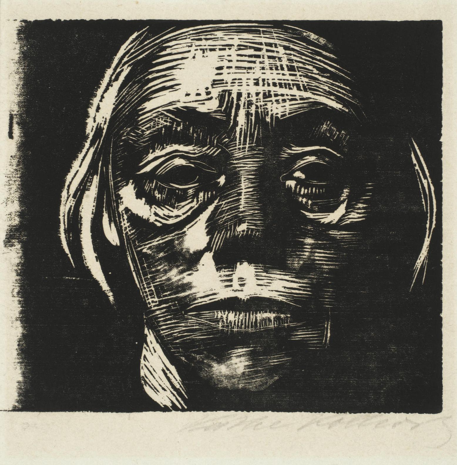 Kathe Kollwitz-Selbstbildnis Von Vorne(Klipstein 168)-1923