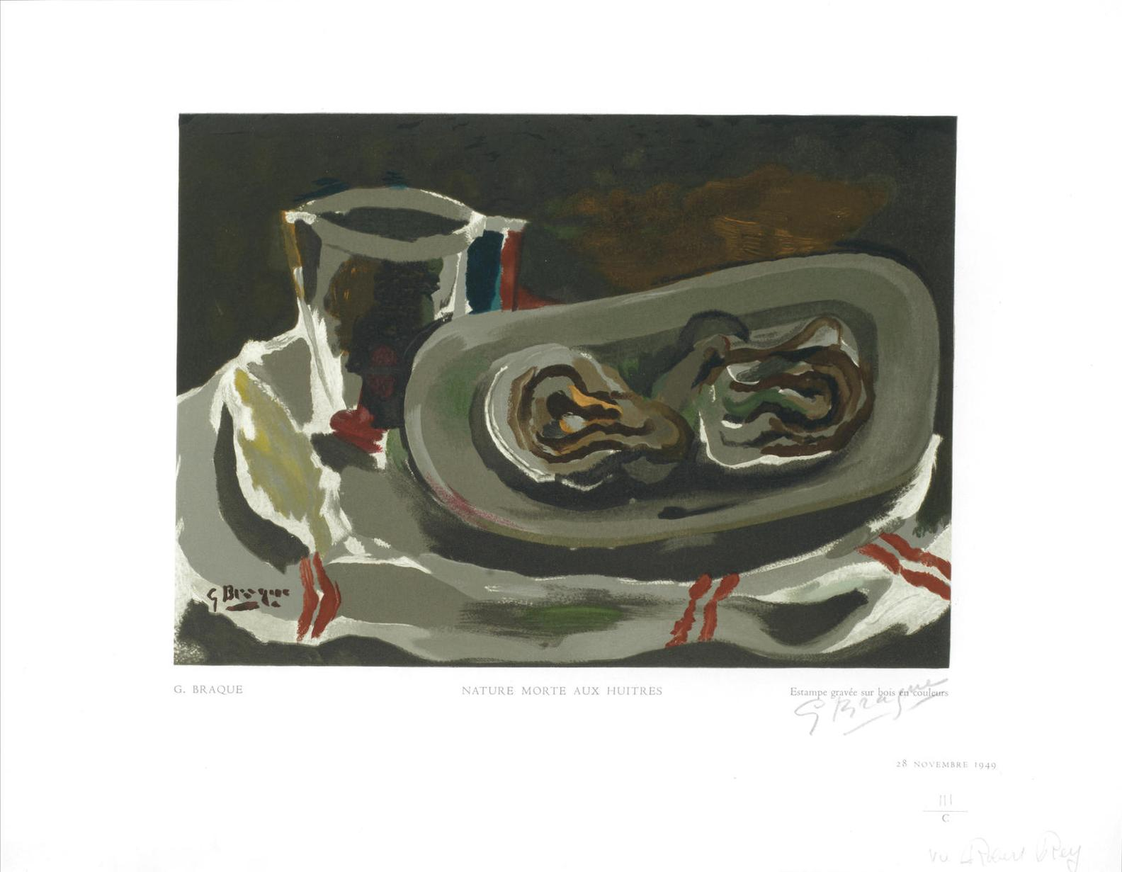 Georges Braque-After Georges Braque - Nature Morte Aux Huitres, From Estampes-1949