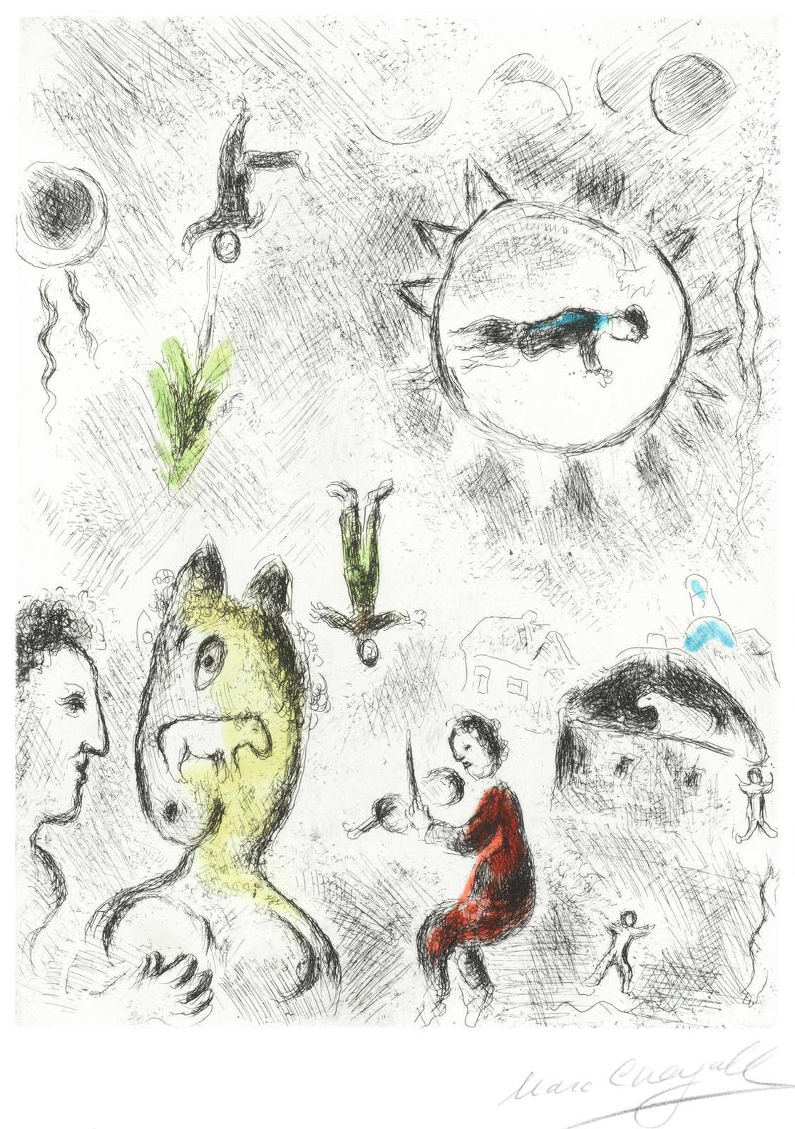 Marc Chagall-Plate 25, From Louis Aragon - Celui Qui Dit Les Choses Sans Rien Dire (Cramer Books 99)-1976