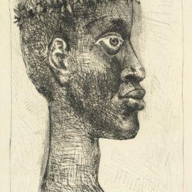 Pablo Picasso-Negre... Portrait Daime Cesaire, From Corps Perdu (Cramer Books 56;Bloch 633; Baer 841Ba)-1949