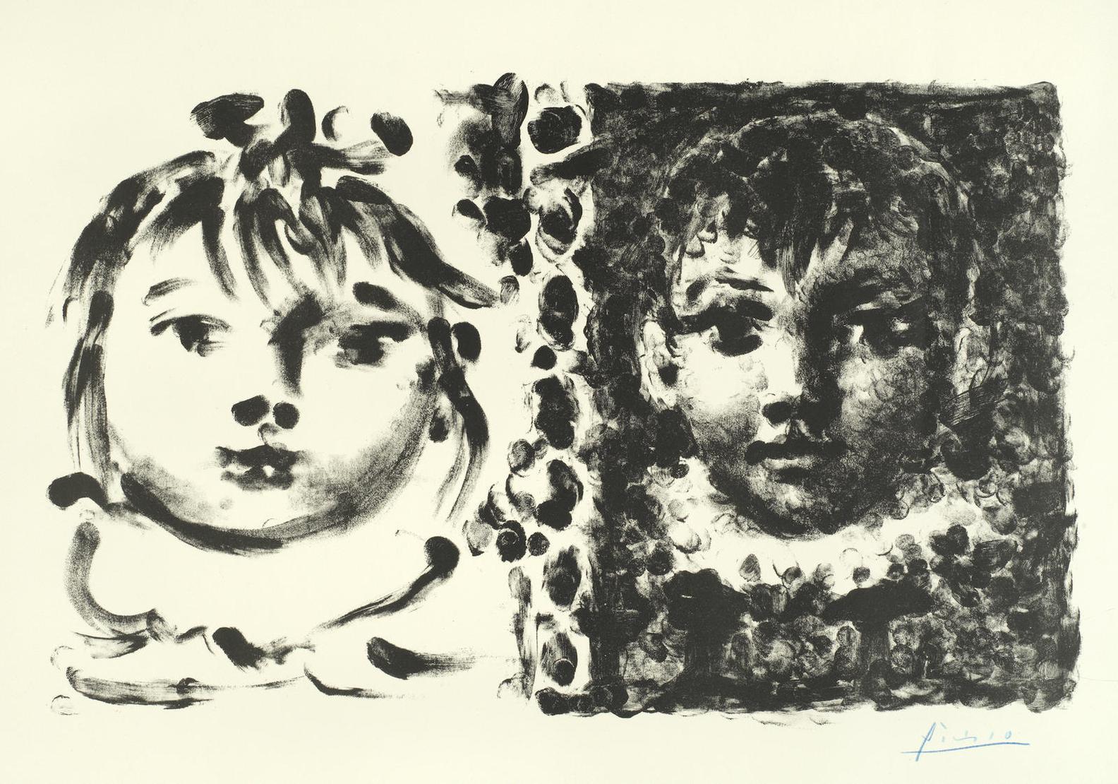 Pablo Picasso-Paloma Et Claude (Bloch 664; Mourlot 186; Cramer 60)-1950