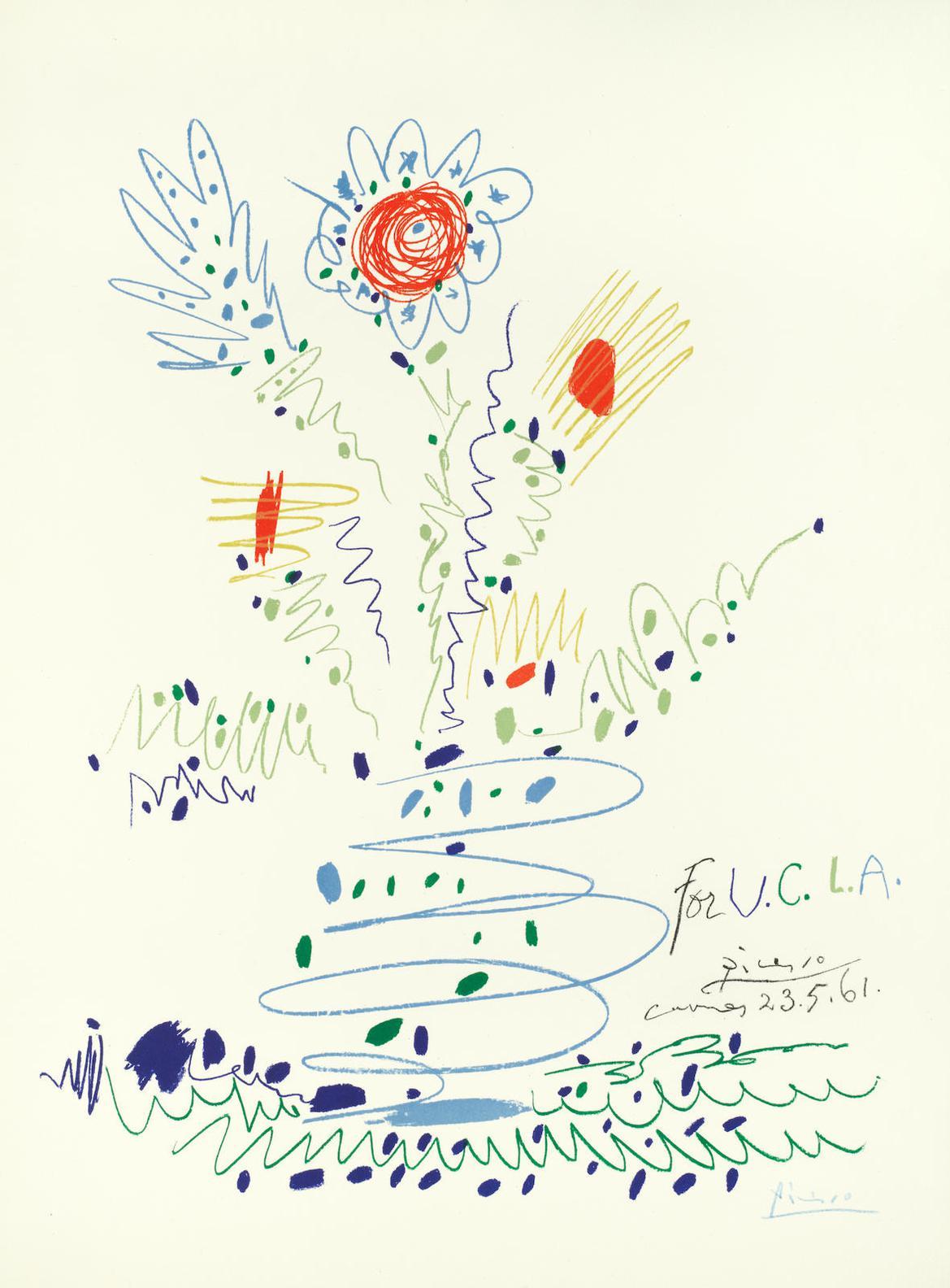 Pablo Picasso-Fleurs (For U.C.L.A.)(Bloch 1297; Mourlot 351)-1961