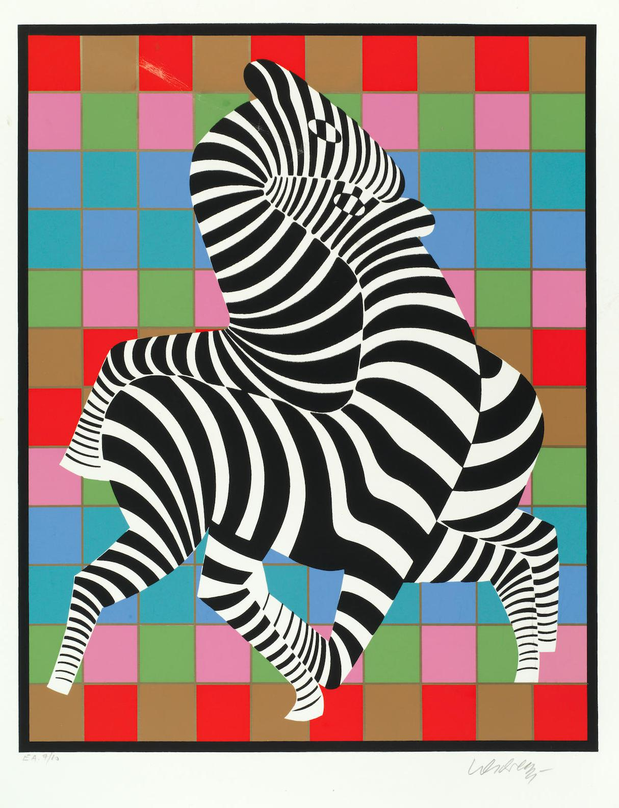 Victor Vasarely-Two Zebras On Coloured Chessboard-