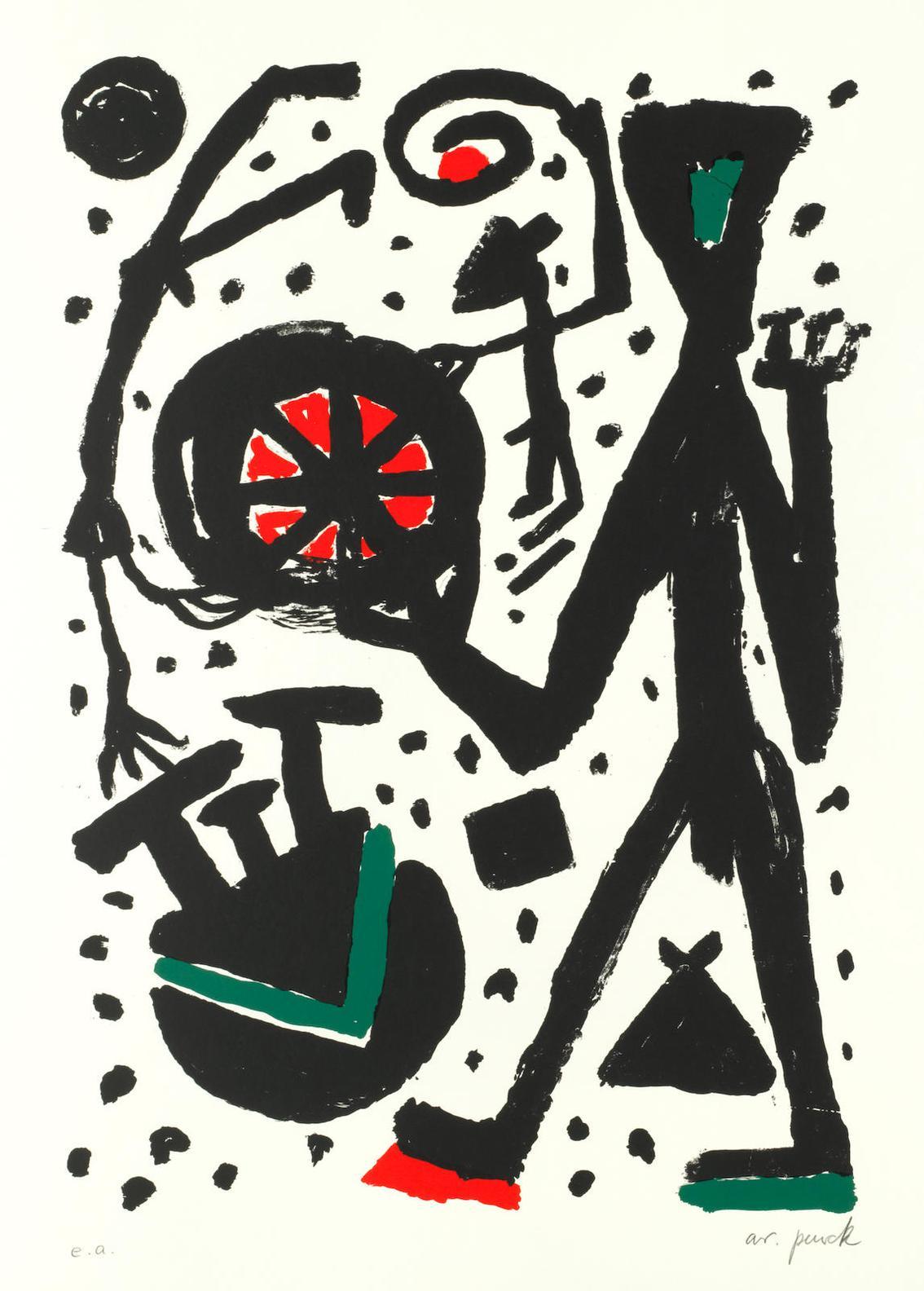 A.R. Penck-Mann Und Weltrad-1989