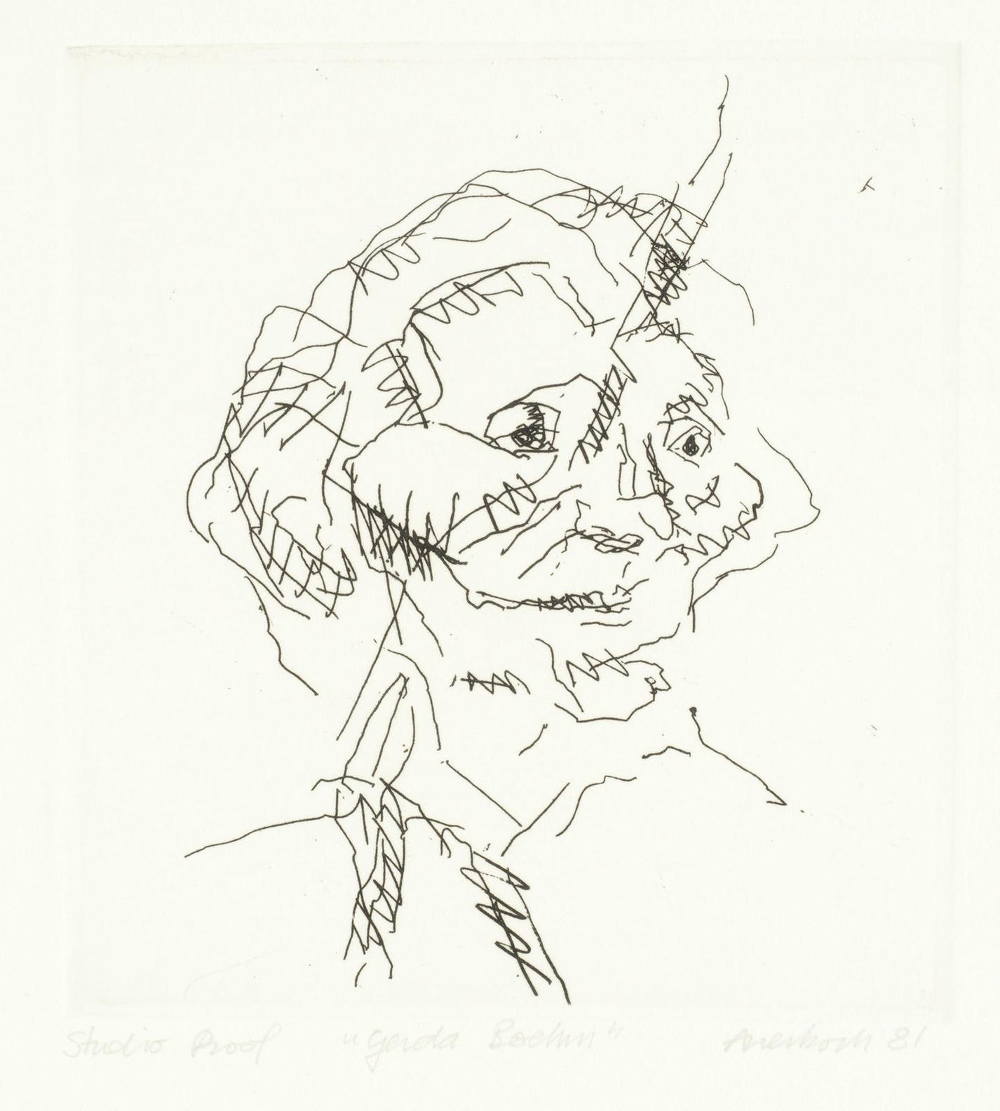 Frank Auerbach-Gerda Boehm, From Six Etchings Of Heads (Marlborough Graphics 13)-1981