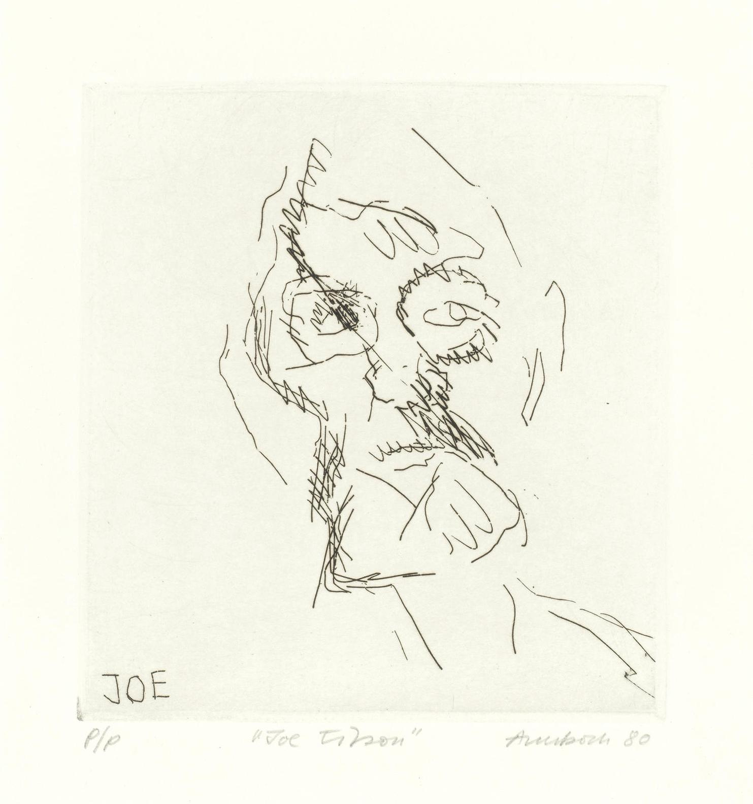 Frank Auerbach-Joe Tilson, From Six Etchings Of Heads (Marlborough Graphics 9)-1980