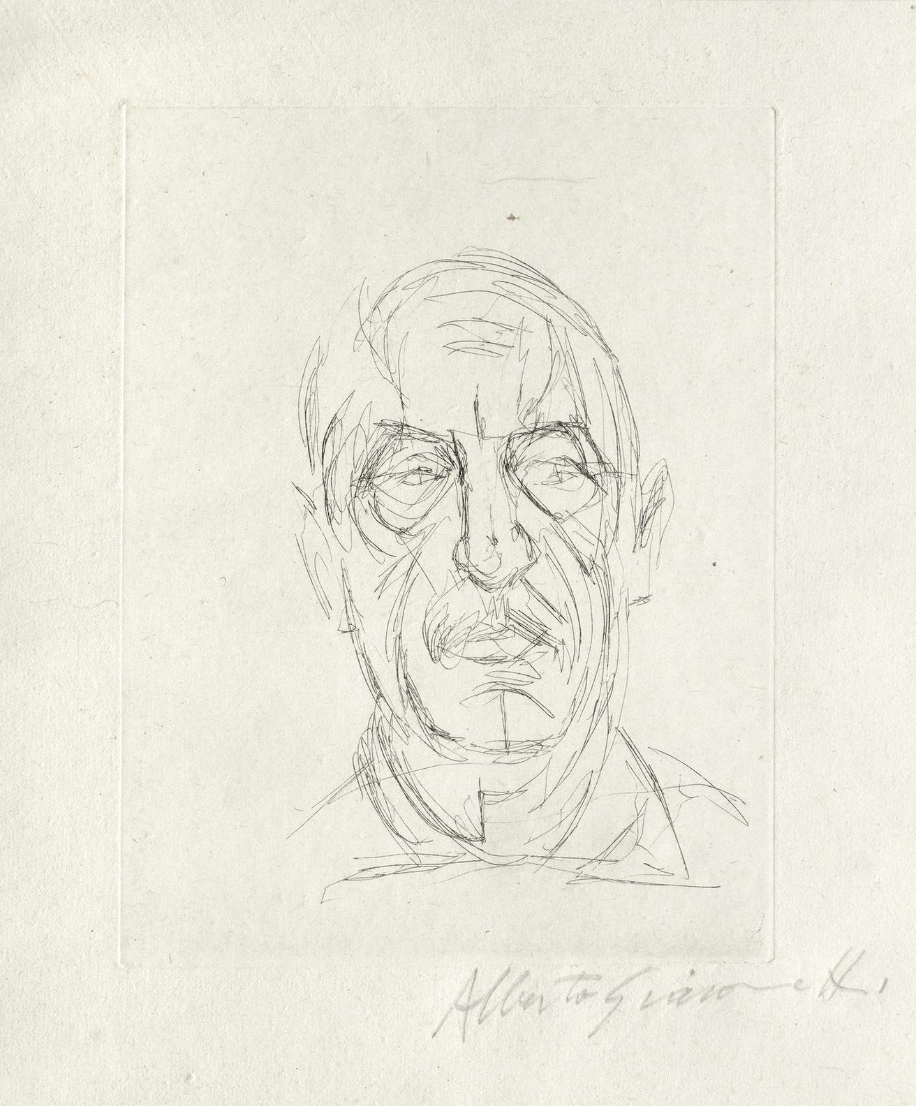 Alberto Giacometti-Portrait Du Poete Orbandale Vi, From Les Douze Portraits Du Celebre Orbandale (Kornfeld 353; Lust 167)-1961