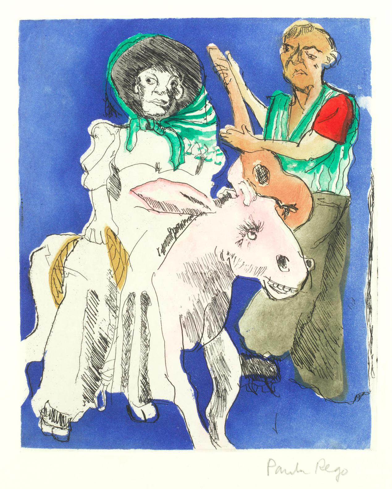 Paula Rego-Lady On A Donkey And Man With A Guitar (Not In Rosenthal)-