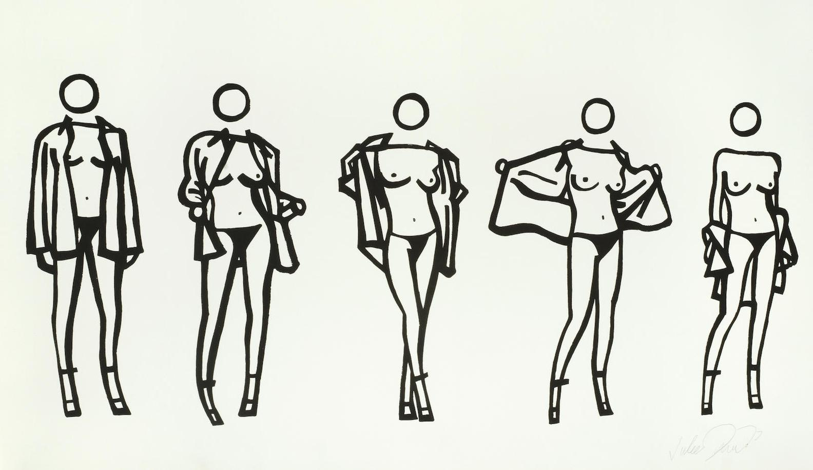 Julian Opie-Woman Taking Off A Mans Shirt In Five Stages-2004