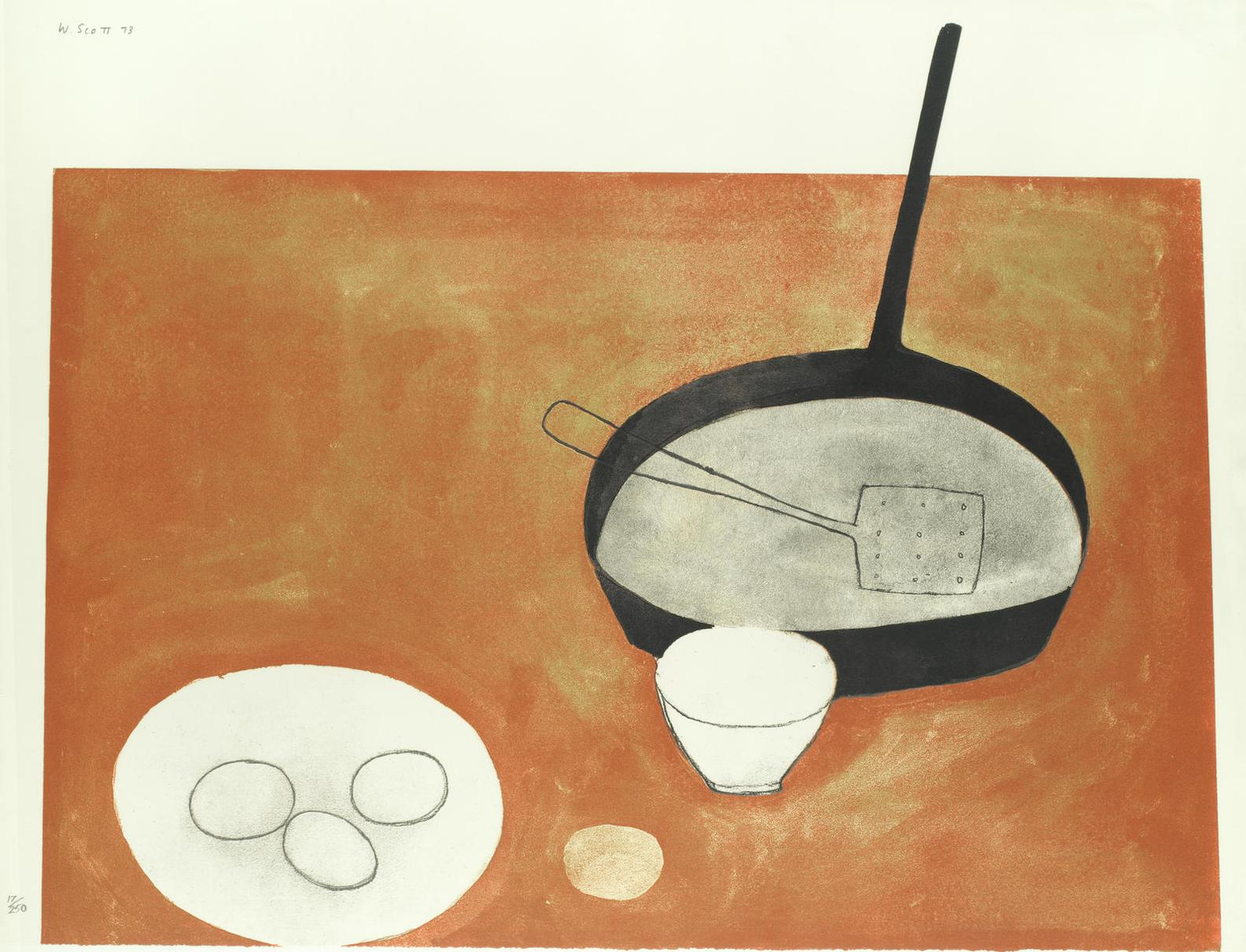 William Scott-Still Life With Frying Pan And Eggs-1973