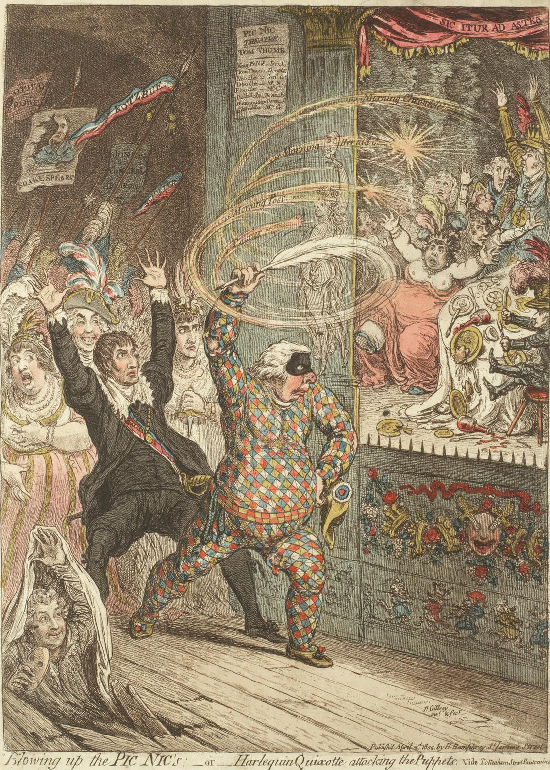 James Gillray-Blowing Up The Pic Nics - Or - Harlequin Quixote Attacking The Puppets-1802