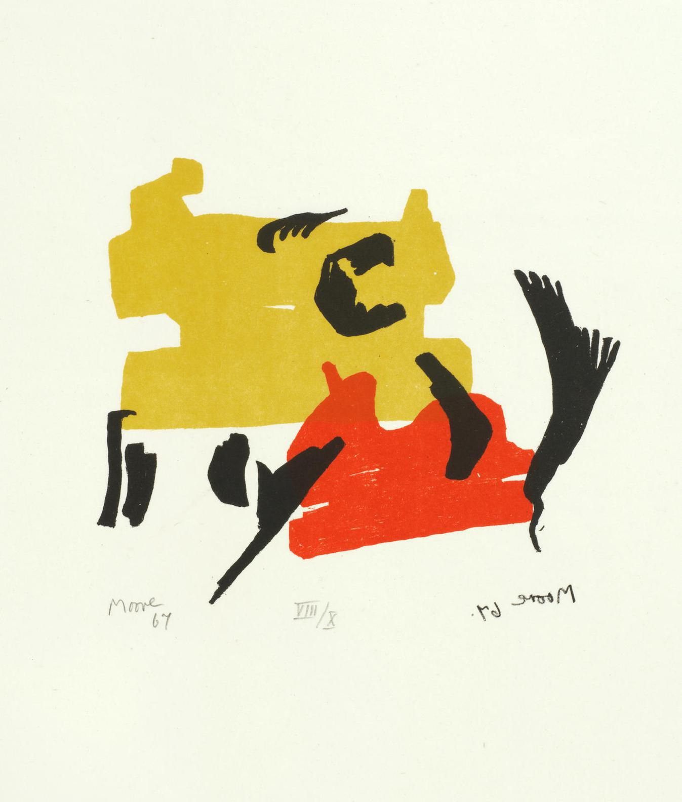 Henry Moore-Two Forms In Red And Yellow, From Meditations On The Effigy; Dromedary, From Animals In The Zoo (Cramer 76; 635)-1967