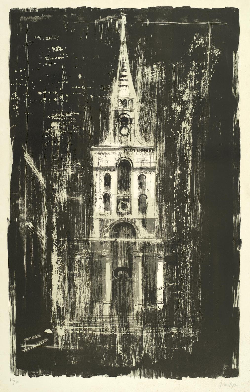 John Piper-Christ Church, Spitafields, London, By Nicholas Hawksmoor, From A Retrospect Of Churches (Levinson 142)-1964