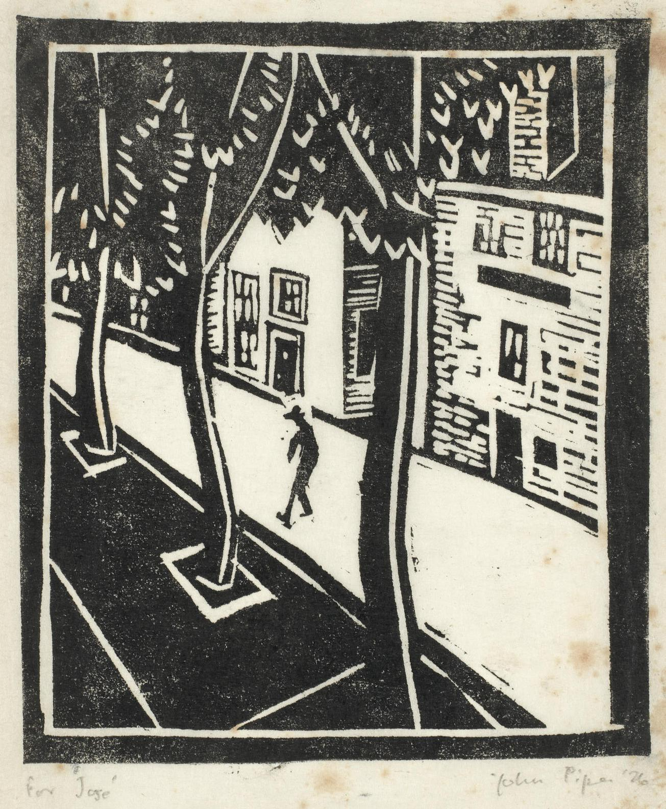 John Piper-Street Scene With Figure And Trees (Not In Levinson)-1926