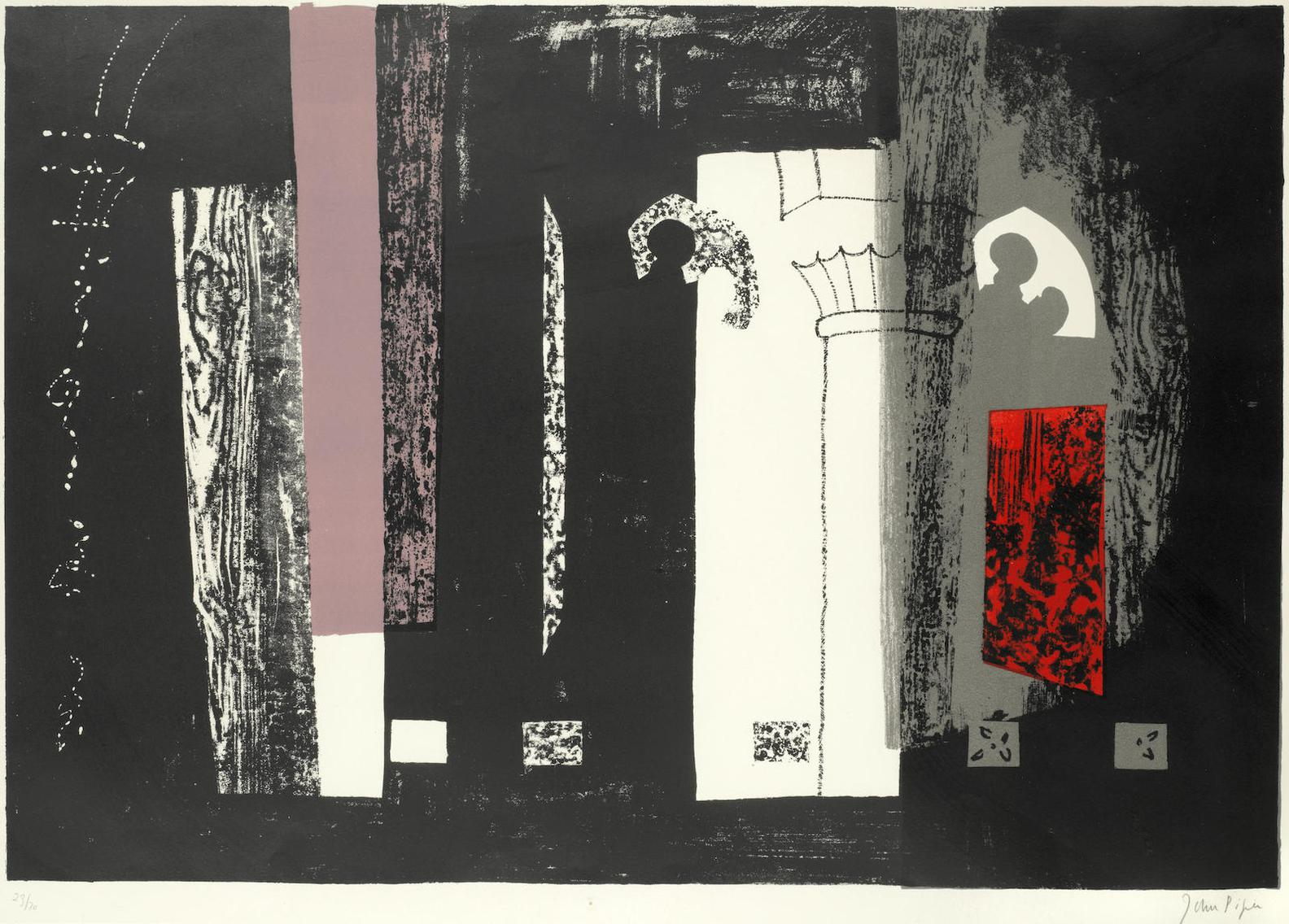 John Piper-Inglesham, Wiltshire: A Rustic Medieval Interior, From A Retrospect Of Churches (Levinson 132)-1964
