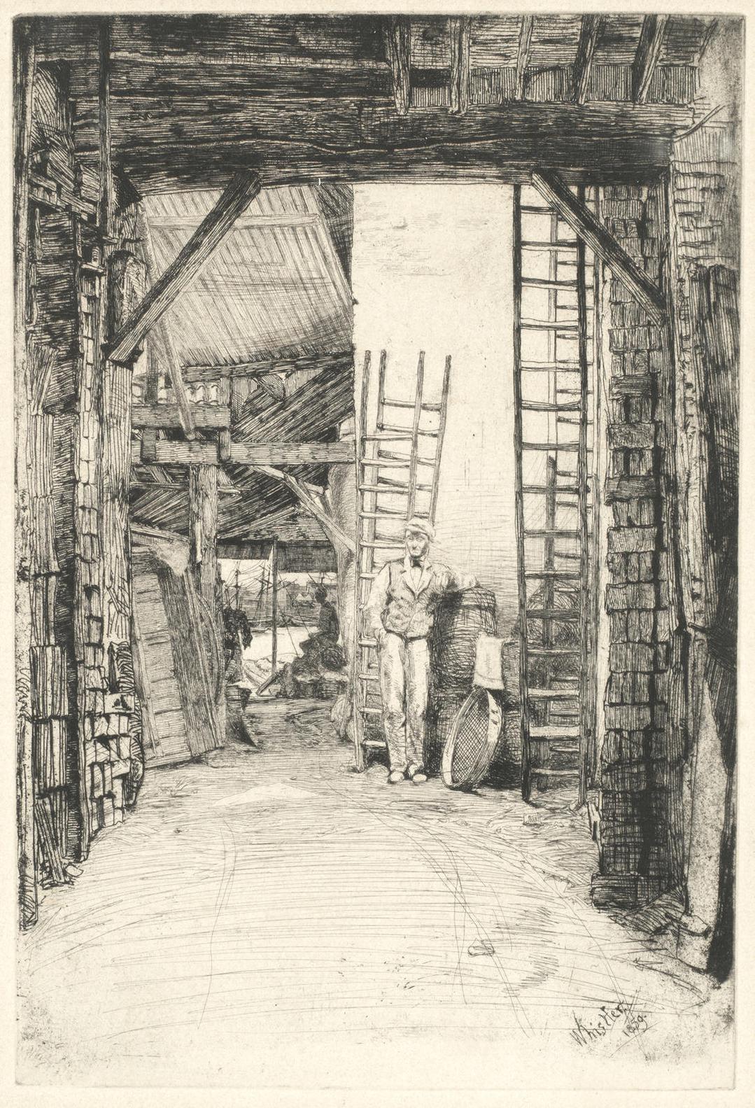 James Abbott McNeill Whistler-The Lime-Burner, From The Thames Set (Kennedy 46)-1859