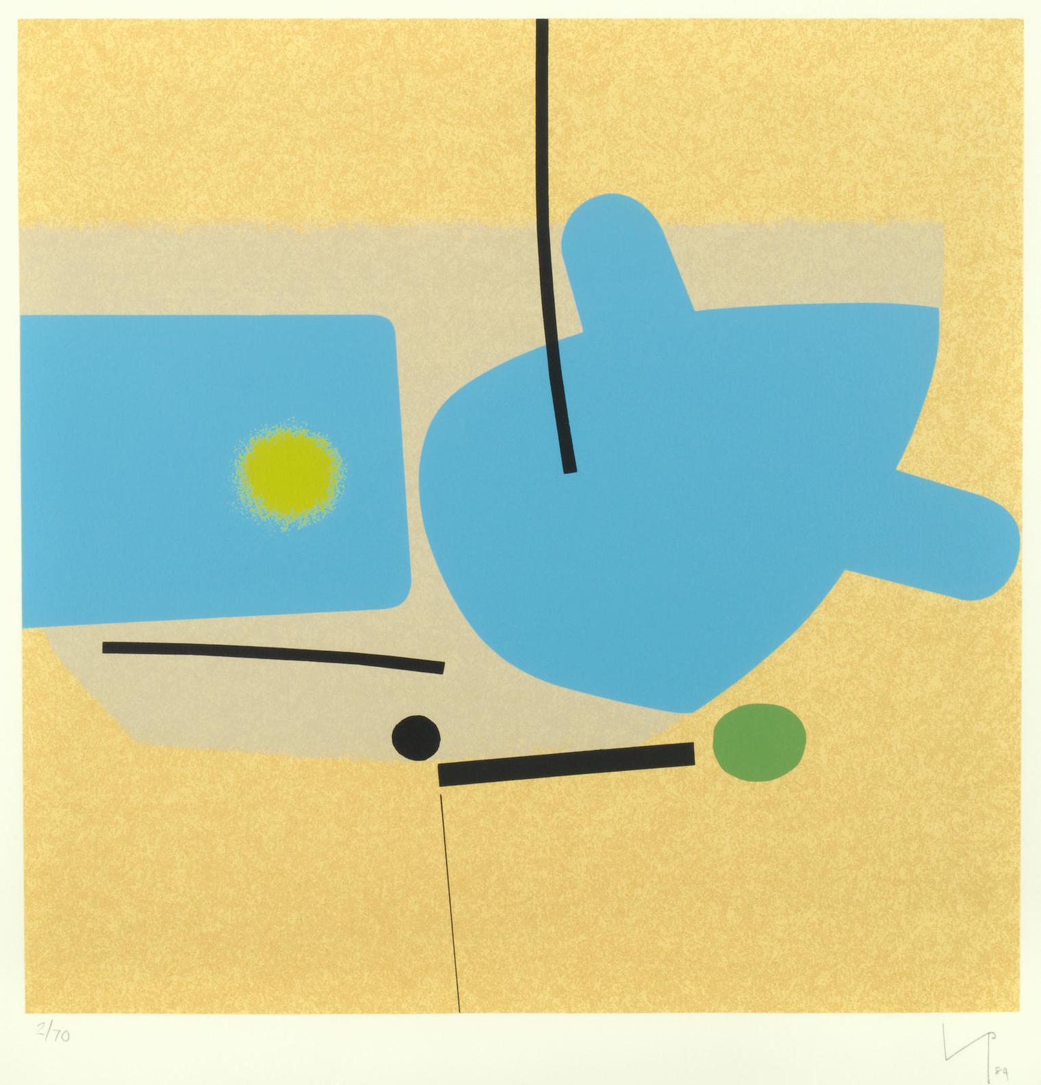 Victor Pasmore-Two Image - Blue(Lynton G.29)-1984