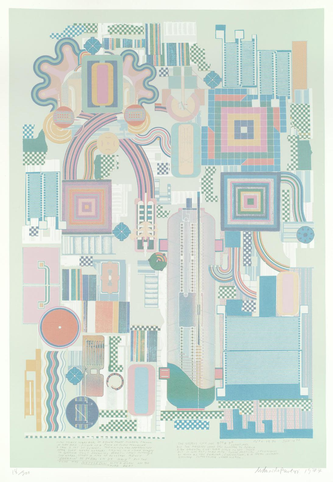 Sir Eduardo Paolozzi - Six Plates, From Calcium Light Night (Miles 177, 178, 179, 181, 182, 185): including 'Aeschylus and Socrates' 1975 (M.181), 'Largo to Presto' 1974 (M.178), 'The Children's Hour' 1974 (M.177), 'From Early Italian Poets' 1975 (M.182), 'Central Park in the Dark Some 40 Years Ago' 1974 (M.179), 'Nettleton' 1976 (M.185)-1977