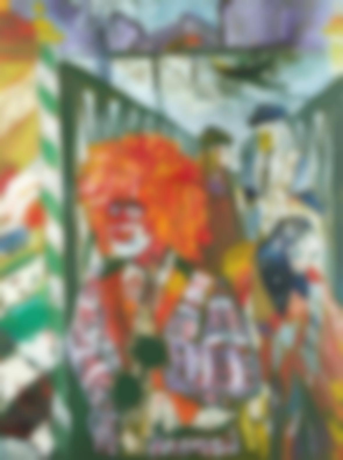 John Bratby-Carnival People On Walkway And Clown, Venezia-