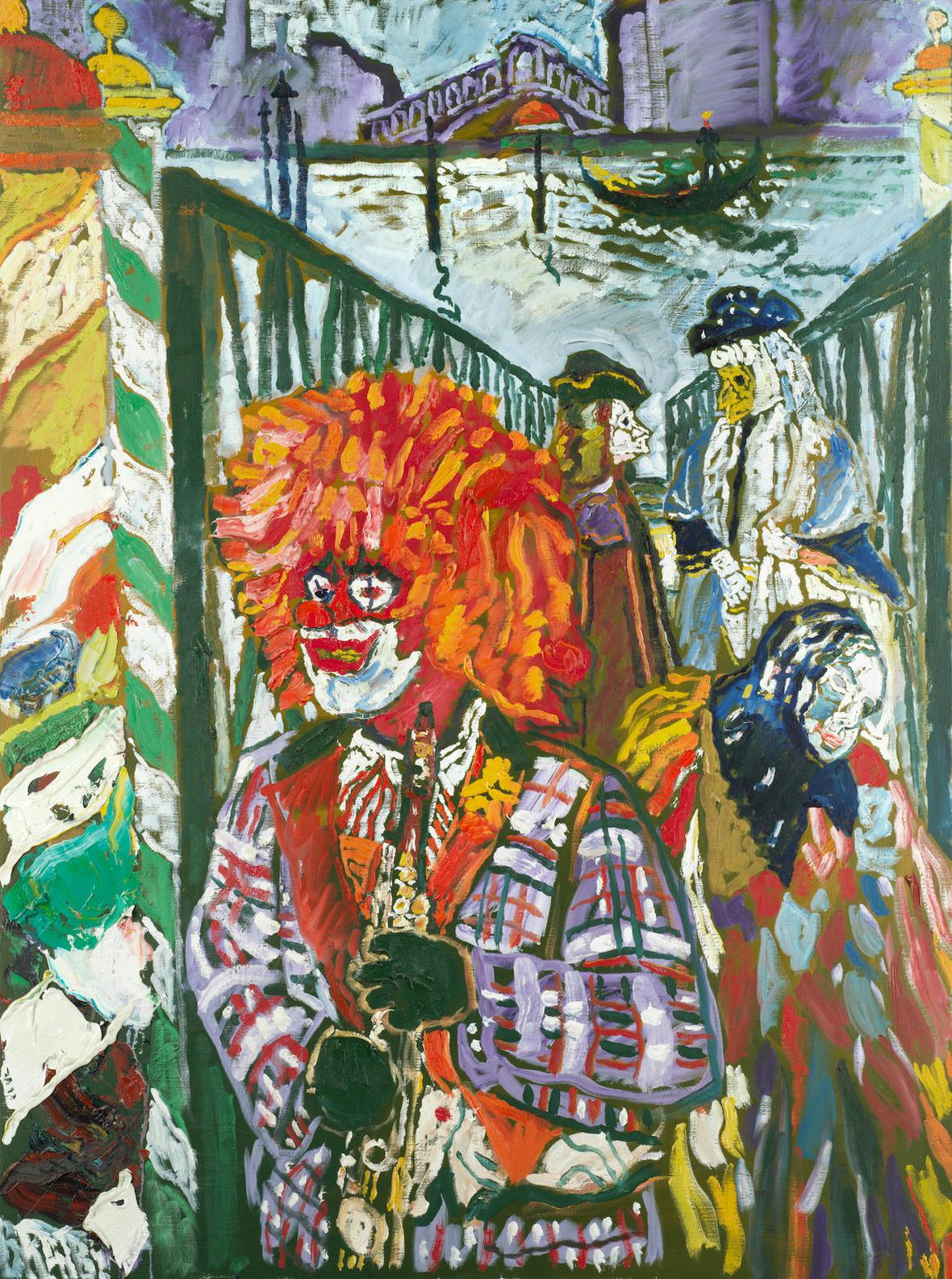 John Bratby-Carnival People On Walkway And Clown, Venezia-