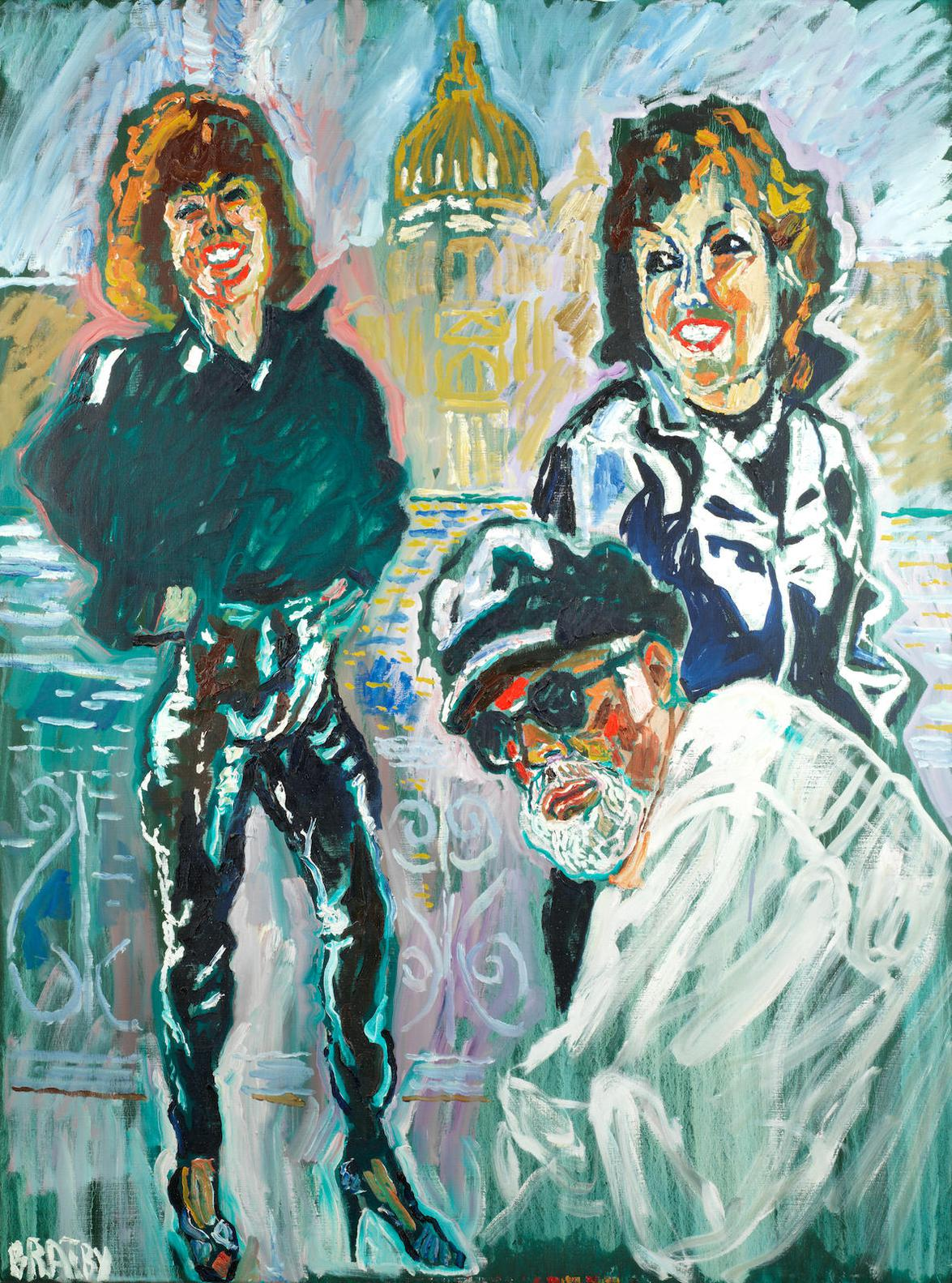 John Bratby-John Bratby As Joss Ackland And Patti After The Rain-1990